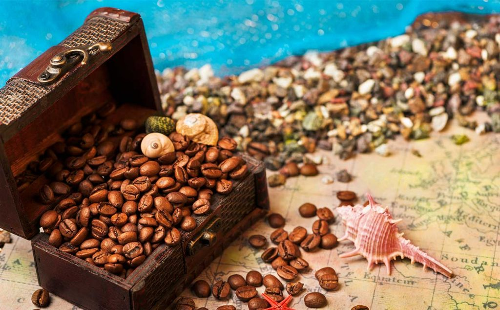 treasure chest with coffee beans spilling out